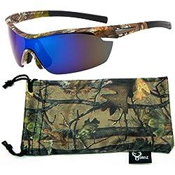 Hornz Brown Camuflaje del Bosque polarizados Gafas de Sol para los Hombres del Abrigo Alrededor del Marco de Deporte y Que Coinciden con Bolsa de Microfibra – Marco de Marrón Camo - Lente Azul