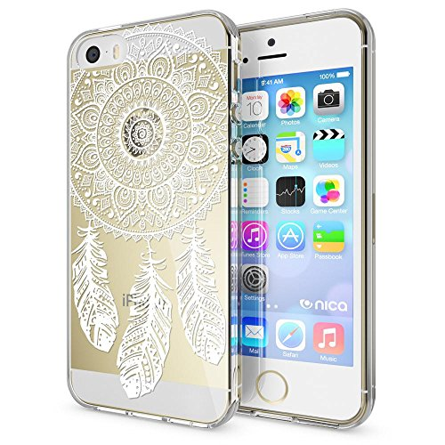 iPhone SE 5 5S Hülle Handyhülle von NICA, Slim Silikon Motiv Case Schutzhülle Dünn Durchsichtig, Etui Handy-Tasche Back-Cover Transparent Bumper für Apple iPhone 5 5S SE, Designs:Deer Dreamcatcher