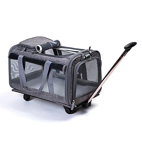 DXX WLQ Haustier Trolley Case - abnehmbare Tasche - Hund Out Pack - Car Carrier tragbare Katze Tasche - Pet Schultertasche,grau,Haustierrucksac -