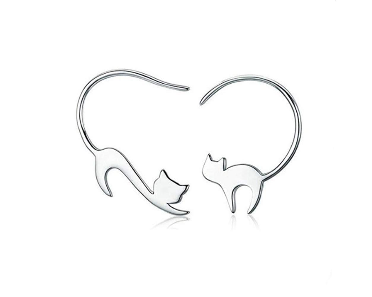Hoveey – Pendientes de gancho para oreja con diseño de gatito travieso de color plateado