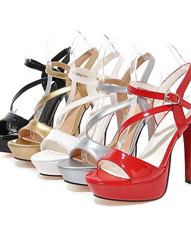 UWSZZ IL Sandali eleganti comfort Scarpe Donna-Sandali-Formale / Serata e festa-Tacchi / Plateau / Con cinghia / Aperta-A stiletto-Finta pelle-Nero / Rosso / Bianco / golden