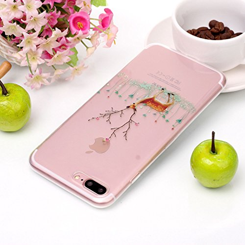 Coque iPhone 7 Plus , Etui iPhone 8 Plus , Transparent TPU Case Noël Motif Mode Silicone Slim Souple Étui de Protection Flexible Peinture Soft Cover Anti Choc Ultra Mince Integrale Couverture Bumper C Elk 1
