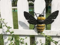 Dipamkar® Pair of Handpainted Metal Bumble Bees Garden Wall Art Garden Sculpture Garden Ornaments by Dipamkar Limited