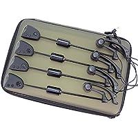 Hirisi Tackle - Juego de anzuelos de pesca para carpas, anzuelos oscilantes con luz LED intercambiable, 4 piezas en estuche con cremallera