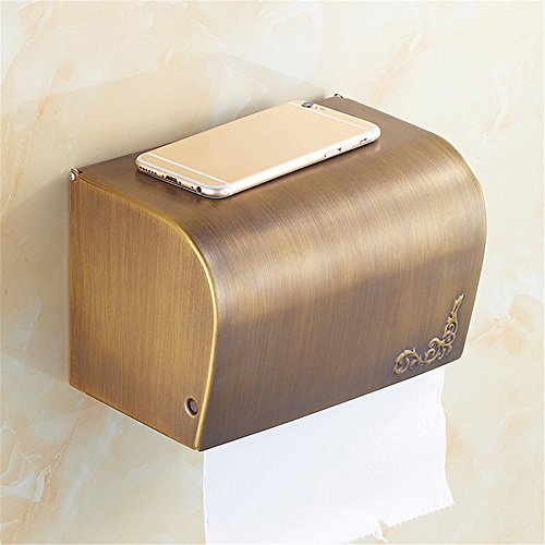 RFVBNM Alle Kupfer europäisch-Stil Tissue Box reines Kupfer Sanitär Ware Hardware Anhänger WC gewebehalter Badezimmer Küchenpapier Halter, Gold