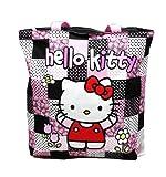 Schwarz und Pink-karierte Hello Kitty Tasche–große Hello Kitty Reisetasche