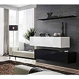 JUSTyou SWOTCH SB II Wohnwand Anbauwand Schrankwand (HxBxT): 110x130x30 cm Weiß Schwarz Matt / Weiß Schwarz Hochglanz