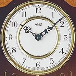 Reloj De Péndulo AMS 7013/9–Reloj de pared con péndulo de cuarzo, estructura de madera kirschbaumfarben lacado marca AMS
