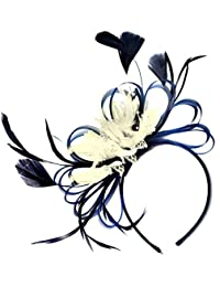 3e2108ed5f0f8 Navy Blue and Cream Feather Hair Fascinator Headband Wedding and Royal Ascot  Races Ladies