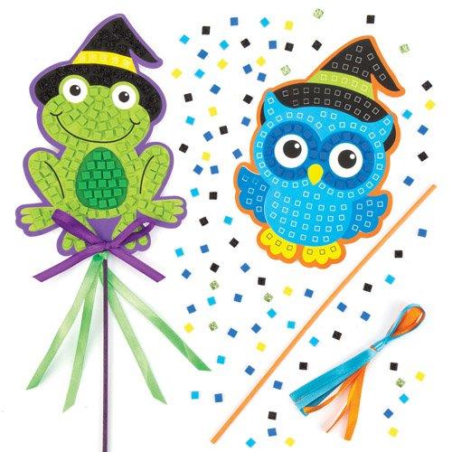 Baker Ross Stabfiguren-Bastelsets Halloween-Mosaik als lustiges Spielzeug für Kinder zum günstigen Preis - perfekt als kleine Party-Überraschung für Kinder zu Halloween (4 Stück) (Lustige Ideen Für Kinder-halloween-party)