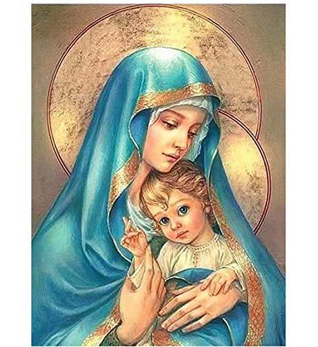 5D Diy Diamante Pintura Dibujo Artesanía Santísima Virgen María Y Jesús Religiosa Madre Niño Bordado Costura Completa Taladro Decoración Punto De Cruz Kits 40x50cm