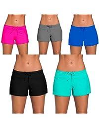 YIFEIKU Co.,Ltd. Pantalones Cortos de Natación para Mujer, Deportivos, Pantalones Cortos con Cintura Dividida en los Laterales, para Verano, Playa, Natación, Mujer, Negro, XXXL