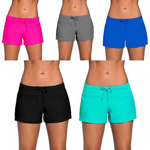 YIFEIKU Co.,Ltd..... Swim Shorts Women Sports Tankini Bottom Shorts Side Split Waistband Summer Beach Swimwear
