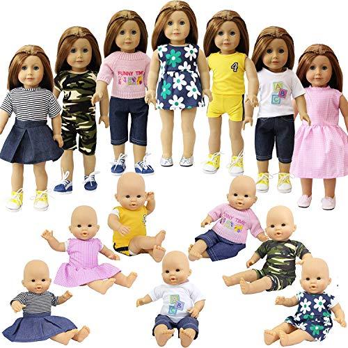 ZITA ELEMENT 7er Daily Puppen Kleidung Kleider Outfits für 35 - 46cm Babypuppe und 14-18 Zoll American Girl Doll Puppenkleidung Puppenkleider Bekleidung Mädchen Spielzeug