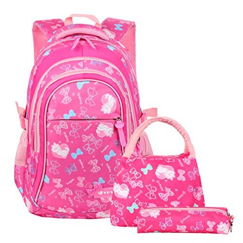 Vbiger Schulranzen Mädchen Schulrucksack Schultasche Rucksack Kinder Daypack 3 Teile Set für Schule und Freizeit Rosig