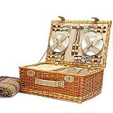 Deluxe Picknickkorb für 4 Personen mit Picknickdecke - Die Geschenk Idee Zur Hochzeit, Geburtstag, Jubiläum