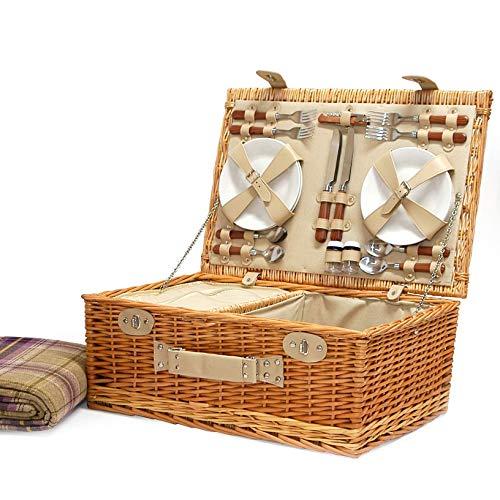 Cestino da picnic per 4 persone, con accessori e coperta viola in tartan, ottimo regalo per compleanno, matrimonio, anniversario e regalo aziendale.