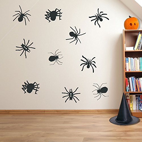 Halloween Spooky Halloween Spinnen Spider Wand Dekorationen Fenster Aufkleber Wall Decor Sticker Wall Art Aufkleber Sticker Wand Aufkleber Aufkleber Wandbild Décor DIY Deco Abnehmbare Wandaufkleber Colorful Aufkleber, Vinyl, 16 - Charcoal, S