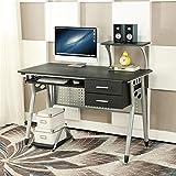Porta PC Tavolo, EBS Postazione di Lavoro Stile Casa Ufficio Workstation Moderno Semplice Scrivania per Computer Tastiere + 2 Cassetti - Nero