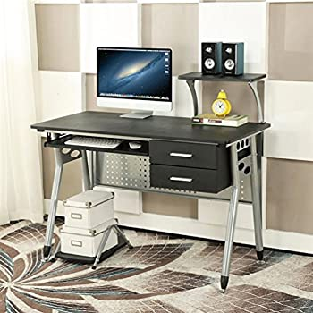 computer home office desk. ebs computer home office desk with sliding keyboard 2 drawers desktop tray pc table workstation t