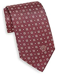 Versace Red Square Dot Patterned 100% Silk Men's Tie, One Size
