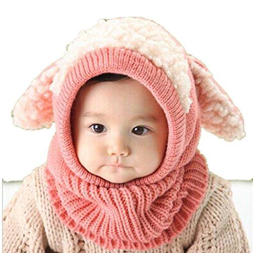 Bebé pañuelos de cuello, RETUROM Moda de invierno nuevo bebé encantadora linda woolen Cofia de la capilla de la bufanda capsula los sombreros (Rosa)
