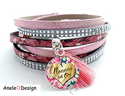 Bracelet manchette femme Cadeau Nourrice - Nounou en Or - rose pompon fleurs vert rose cabochon verre noir doré merci nounou