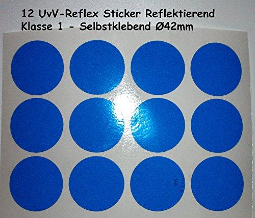 UvV-Shop Reflektoren Sticker Aufkleber, 12 Stück Ø42 mm Sicherheit durch reflektierende Folie (blau)