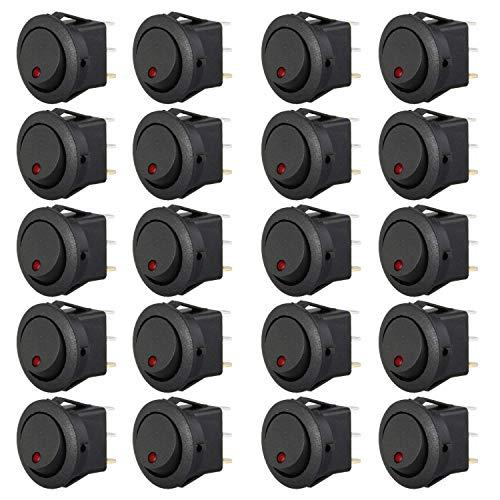 SODIAL(R) 20x LED Anzeige Wippschalter Schalter Ein-/Ausschalter DC 12V 16mm Rot