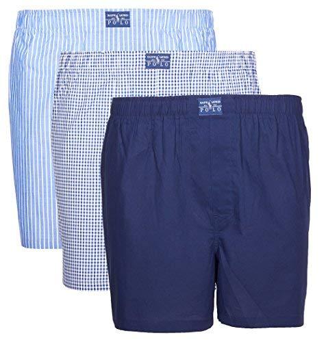 Polo Ralph Lauren Herren Shorts 3 Pack, Webboxershorts, Open Boxer - Marine/Blau: Größe: S (Gr. Small) -