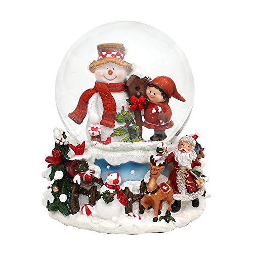 ugel Schneemann mit Kind auf aufwendig verziertem Sockel, mit Spielwerk, Melodie: White Christmas, Maße L/B / H: 12,5 x 12 x 14,5 cm Kugel Ø 10 cm. ()