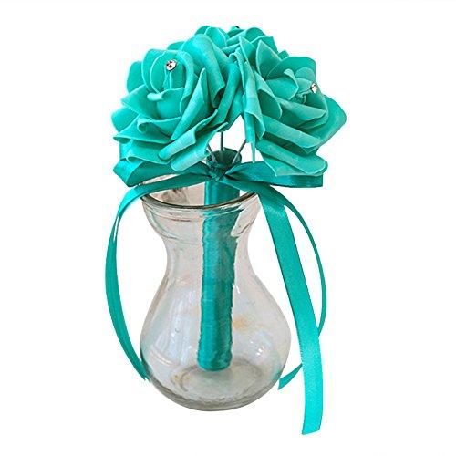 ZqiroLt Künstliche Blumen, künstliche Rose, Brautstrauß Hochzeit, Party, Bankett, Heimdekoration, 3 Köpfe, Tiffany-Blau