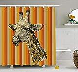 Abakuhaus Duschvorhang, Porträt einer Giraffen Hipster Afrikanischen Tier Zoo Safari Tier Themenorientierter Kunst Druck, Wasser und Blickdicht aus Stoff mit 12 Ringen Bakterie Resistent, 175 X 200 cm