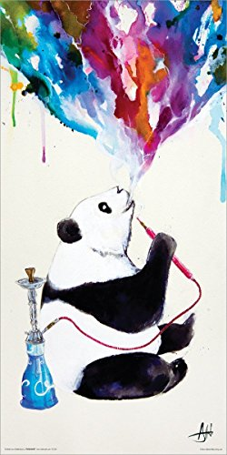 Marc Allante Panda Smoking a Hookah Modern Contemporary Animal Decorative Art Poster Print 12x24