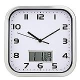 HY-FHLJ Horloge murale Calendrier Carré Métal Séjour Chambre Moderne Non-tic-tac Silencieux Balayage Secondes Décoration 10 Pouces (Noir / Rose / Argent) , Silver , 10 inches...