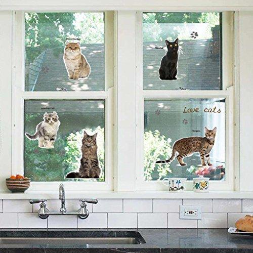 ser® Wandtattoo 112cm * 90cm DIY Katzen Party Kinder Raum Glas Fenster Dekoration abnehmbare Wandsticker (Karte Von Party City)