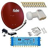 FUBA 12 TEILNEHMER DIGITAL SAT ANLAGE DAA850R + Opticum LNB 0,1dB FULL HDTV 4K + PMSE Multischalter 5/12 + 35 Vergoldete F-Stecker Gratis dazu