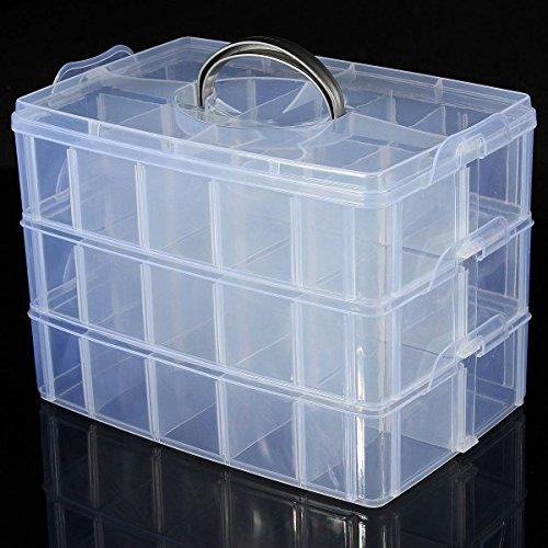 LUCKYFINE 3 Schichten Sortierbox Schmuck Boxen Aufbewahrungsbox Sortierkasten Plastik -