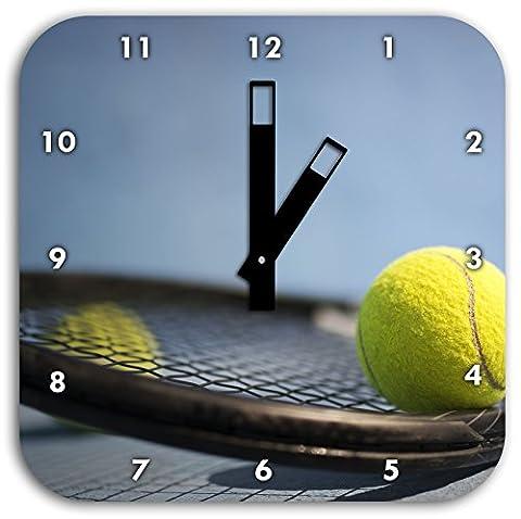 Raquette de tennis avec des balles, diamètre de 28cm horloge murale avec des mains carrées noires et visage, objets de décoration, Designuhr, composite aluminium très agréable pour salon,