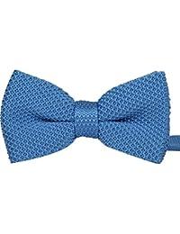 Double couche noeud papillon pré attaché tricoté Bleu ciel unie costume de fête, mariage
