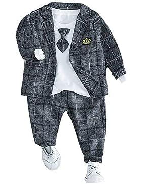 HLWLWOLFOYC Baby Junge Anzüge 3 Stück Set Langarm Shirt + Sakko + Hose