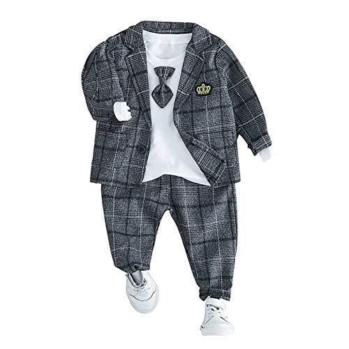 HLWLWOLFOYC Baby Junge Anzüge 3 Stück Set Langarm Shirt + Sakko + HoseGrau , 6-12 Monaten (Herstellergröße :8)