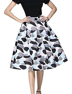 Yonglan Para Mujer Vintage Floral Swing Full Circle Plisadas Faldas Corto Vestidos As picture 2 M