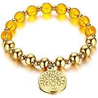 OMZBM Perlen Armbänder Gold Für Frauen Baum Des Lebens Hang Tag Stretch Edelstahl Armband Schmuck Für Mädchen 8Mm