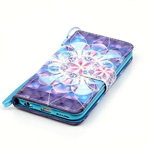 CareyNoce iPhone 6S/6 Coque,Papillon Plume Fleur 3D Relief Retro Painted Pattern Conception Flip Housse Etui Cuir PU Coque pour Apple iPhone 6S iPhone 6 (4.7 pouces) -- Cerisier T05