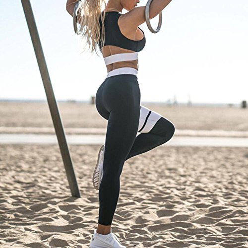 Juleya Set fitness donna tuta sportiva, yoga, running, jogging, palestra fitness outfit allenamento tuta Activewear tuta Nero