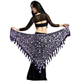 YuanDian Damen Dreieck Bauchtanz Wickel Hüfttuch Gürtel Hüfte Schal Wrap Pailletten Mermaid Professionelle Tribal Arabischen Orientalische Belly Dance Taille Kette Röcke Hellviolett