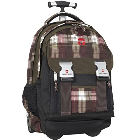 Schultrolley TAKE IT EASY 28020372166 Schulrucksack Trolley PLAID Ranzen BRAUN / PINK ROSA NEU