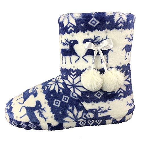 Mesdames Booties Chaussons doublés chaud Scène Fairisle pompons de fête taille 35.5 à 42 blue