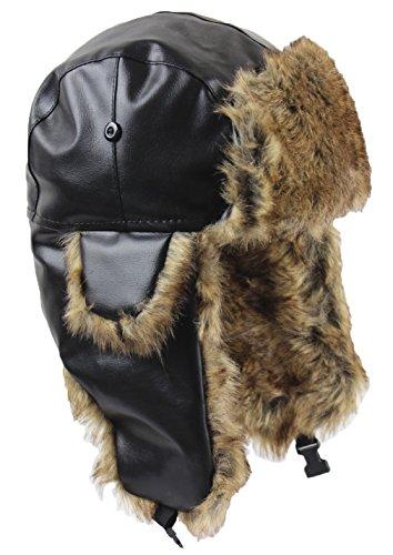 Tina Men's Winter Leather Earflap Trapper Bomber Hat Russian Ushanka